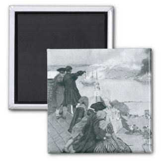 Watching the Fight at Bunker Hill illustration 2 Inch Square Magnet