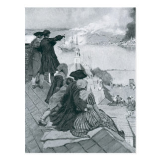 Watching the Fight at Bunker Hill illustration Postcard