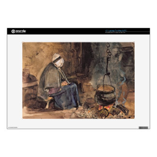 """Watching the pot boil - a cottage interior 15"""" laptop decals"""