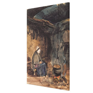Watching the pot boil - a cottage interior canvas print