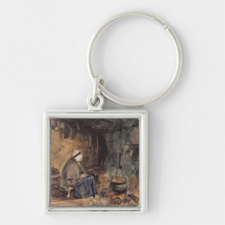 Watching the pot boil - a cottage interior keychain