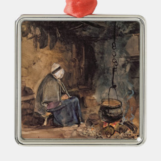Watching the pot boil - a cottage interior metal ornament