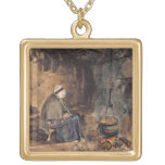 Watching the pot boil - a cottage interior personalized necklace