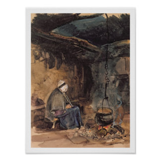 Watching the pot boil - a cottage interior poster