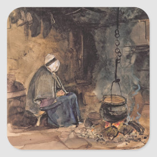 Watching the pot boil - a cottage interior square sticker