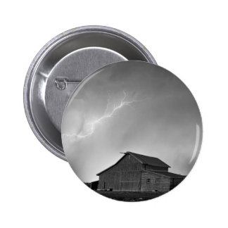 Watching The Storm From The Farm BW Pinback Button