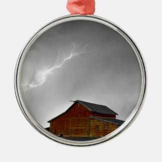 Watching The Storm From The Farm BWSC Metal Ornament