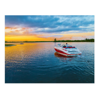 Watching The Sunset From a Jet Boat Postcard