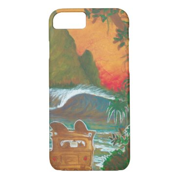 Beach Themed Watching the Sunset Man Dog and Surf Van iPhone 7 Case