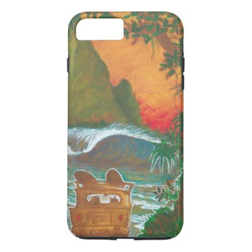 Beach Themed Watching the Sunset Man Dog and Surf Van iPhone 7 Plus Case