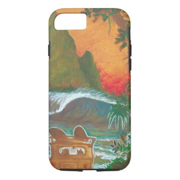 Beach Themed Watching the Sunset Man Dog and Surf Van iPhone 8/7 Case