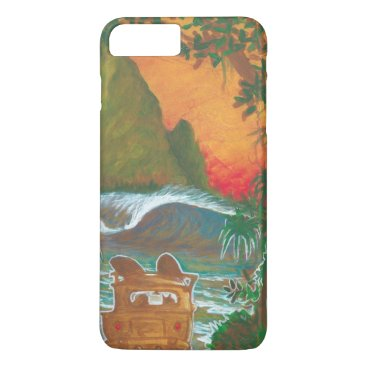 Beach Themed Watching the Sunset Man Dog and Surf Van iPhone 8 Plus/7 Plus Case
