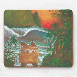 Watching the Sunset Man Dog and Surf Van Mouse Pad