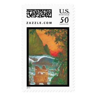 Watching the Sunset Man Dog and Surf Van Postage