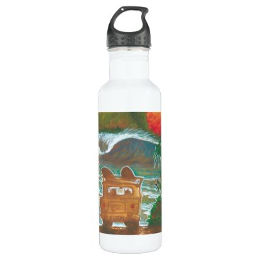 Beach Themed Watching the Sunset Man Dog and Surf Van Water Bottle