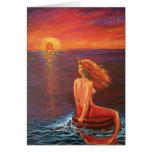Watching The Sunset - Mermaid art Greeting Card