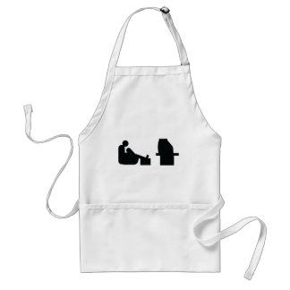 watching tv adult apron