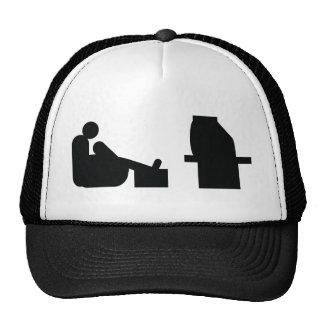 watching tv trucker hat