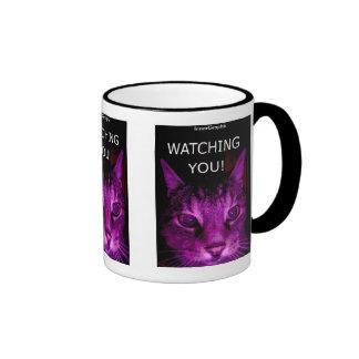 WATCHING YOU! CAT PORTRAIT COFFEE MUGS