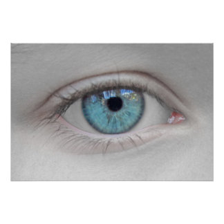 Watching You - Eye Photo in Black, White & Blue Poster