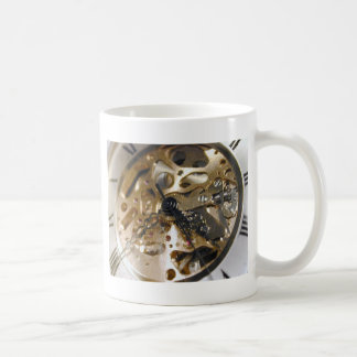 Watchmaker clock working coffee mug