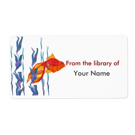 Watecolor Cute Red Fish  Digital Quilt Label