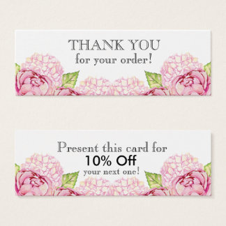Watecolor Floral Slim Thank You with Discount Mini Business Card