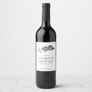 Watecolor Olive Branch Wedding Wine Label