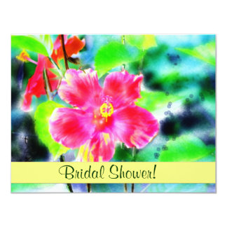 Watecolor Red Hibiscus Bridal Shower Invitation