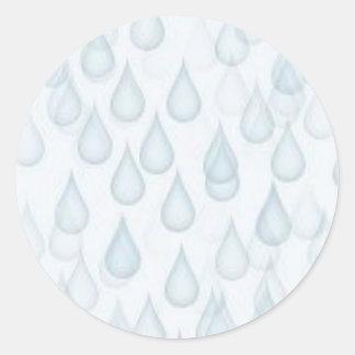 WATER034 RAINDROPS LIGHT BLUE WHITE CARTOON WEATHE CLASSIC ROUND STICKER