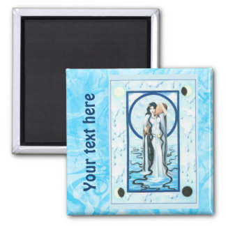 Water 2 Inch Square Magnet