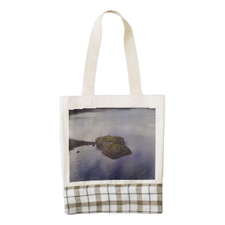 Water and a bridge in the background zazzle HEART tote bag