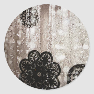 Water and Black Lace Classic Round Sticker