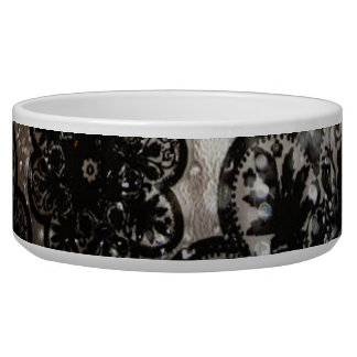 Water and Black Lace Dog Bowl