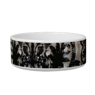 Water and Black Lace Cat Bowls