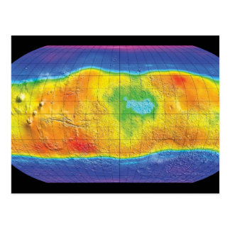 Water and Ice Distribution Map of Mars Postcard
