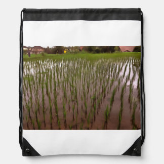 Water and paddy field drawstring bag