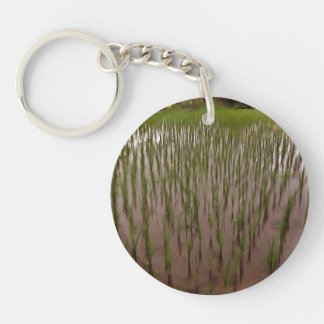 Water and paddy field keychain