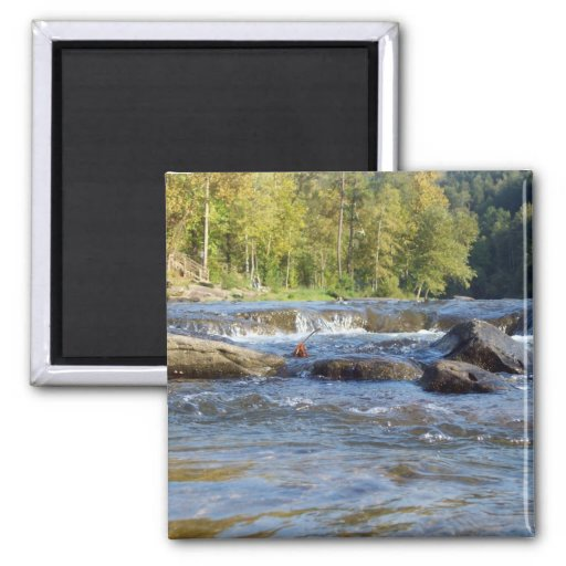 Water and Rocks 2 Inch Square Magnet