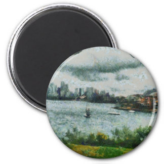 Water and scenery 2 inch round magnet