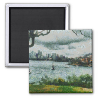 Water and scenery 2 inch square magnet