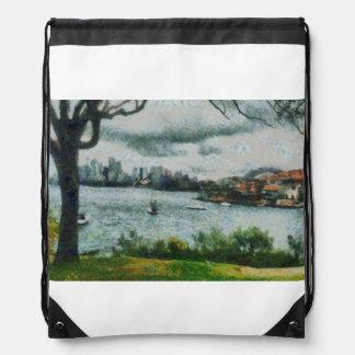 Water and scenery drawstring bag