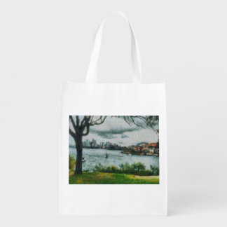 Water and scenery grocery bag