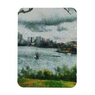 Water and scenery rectangular photo magnet