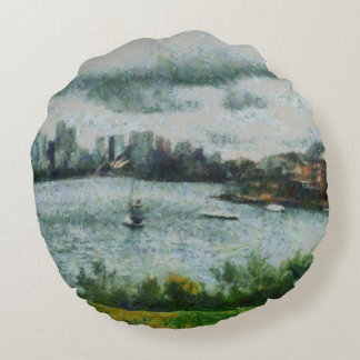 Water and scenery round pillow