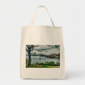 Water and scenery tote bag