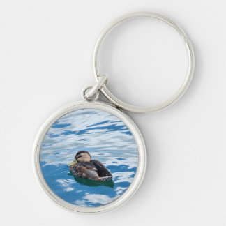 Water and Sky  Mallard Silver-Colored Round Keychain