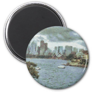 Water and skyline 2 inch round magnet