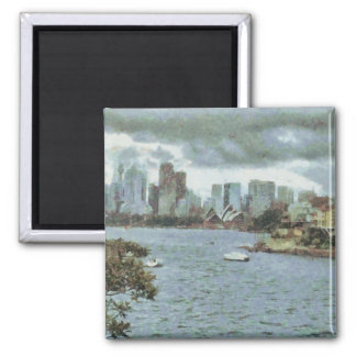 Water and skyline 2 inch square magnet