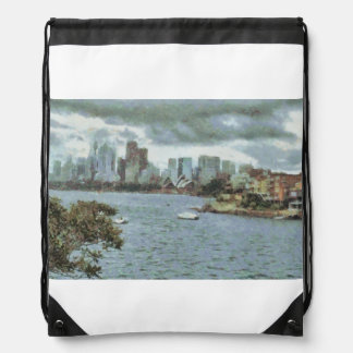 Water and skyline drawstring backpack